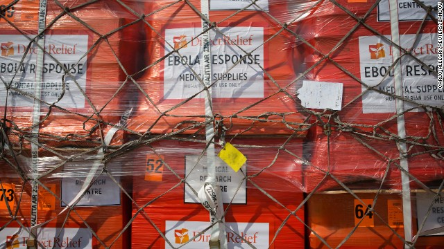 Supplies wait to be loaded onto an aircraft at New York's John F. Kennedy International Airport on Saturday, September 20. It was the largest single shipment of aid to the Ebola zone to date, and it was coordinated by the Clinton Global Initiative and other U.S. aid organizations.