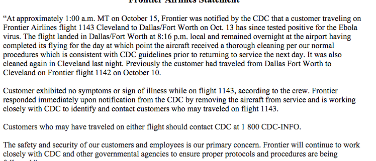 Frontier Airlines Statement