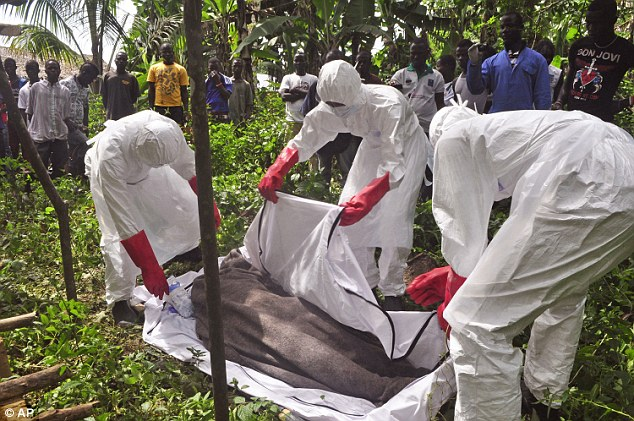 Hearth workers cover the body of a man suspected of dying from the Ebola virus on the outskirts of Monrovia, Liberia.  The World Health Organization said this week that the rate of infection in Liberia appears to be falling but warned that the response effort must be kept up or the trend could be reversed
