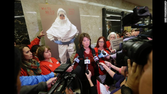 RoseAnn DeMoro, executive director of the California Nurses Association and National Nurses United, talks to reporters in Sacramento, California, after meeting with Gov. Jerry Brown to discuss the Ebola crisis on October 21.