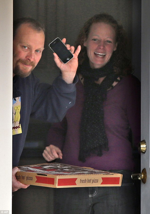 Later in the day the pair had a pizza delivered to their homeFort Kent, Maine, and waved to the waiting media as they opened the door